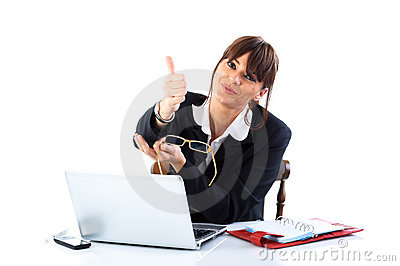 Businesswoman With Thumb Up Stock Images - Image: 18611394