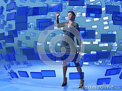 Businesswoman touching blue screen