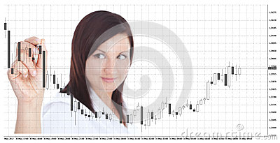 Businesswoman touching forex chart over white
