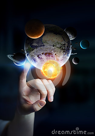 Free Businesswoman Touching Solar System With His Fingers Stock Photo - 76659540