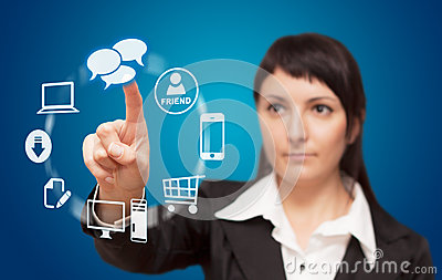 Businesswoman touchscreen interface.