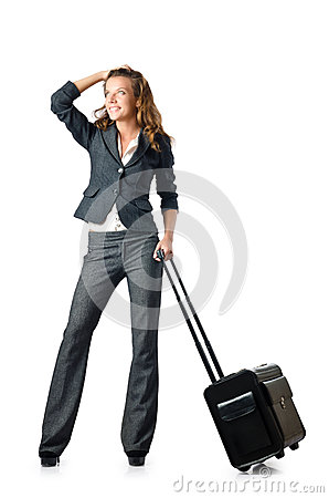 Businesswoman with travel case