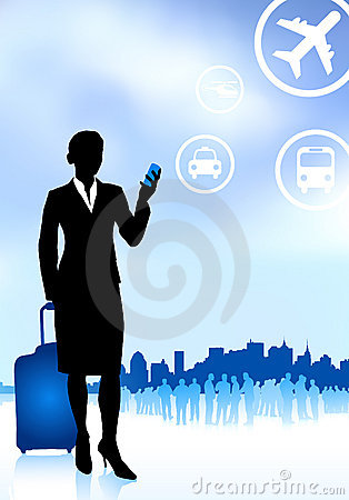 Businesswoman traveler with luggage