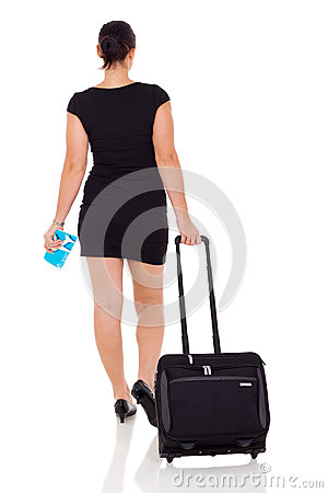 Businesswoman travelling by air