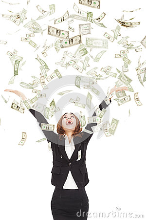 Businesswoman try to catch the money