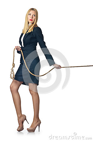 Businesswoman in tug of war