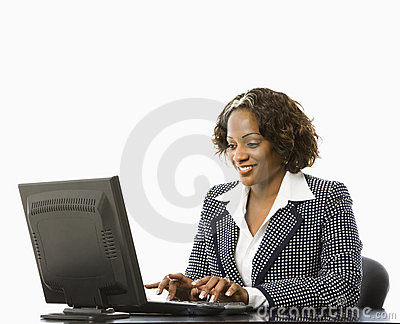 Businesswoman typing.