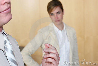 Businesswoman upset