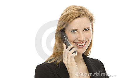 Businesswoman uses cell phone