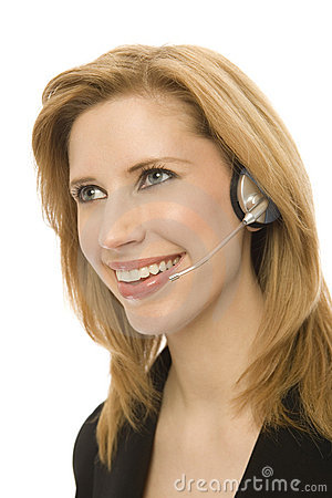 Free Businesswoman Uses Headset Royalty Free Stock Photography - 2386017