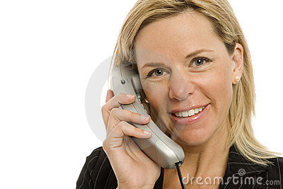 Businesswoman uses phone