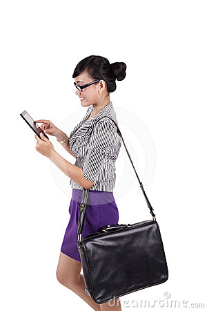 Businesswoman using iPad