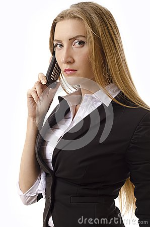 Businesswoman Using An Old Fashioned Cell Phone