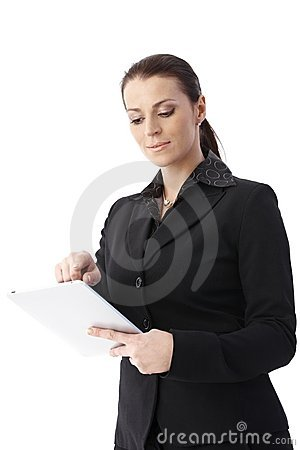 Businesswoman using tablet pc