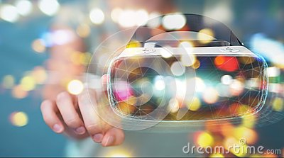 Businesswoman using virtual reality glasses technology 3D render Stock Photo