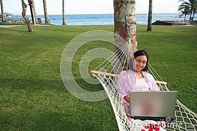 Businesswoman on vacation