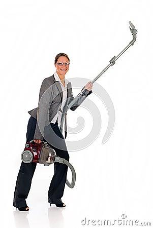 Businesswoman vacuum cleaner