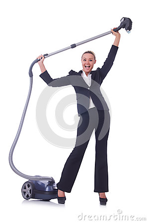 Businesswoman with vacuum cleaner
