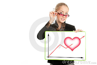 Businesswoman with Valentine s Day diagram