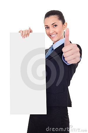 Businesswoman with vertical empty banner