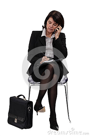 Businesswoman in the waiting room
