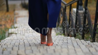 Businesswoman walking up the stairs on stairway stock video