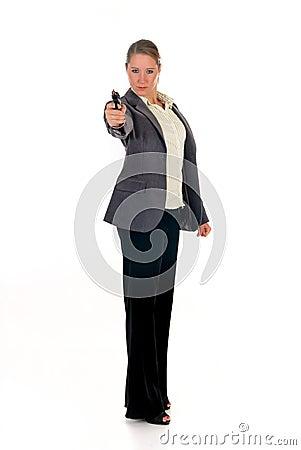 Businesswoman with weapon, gun