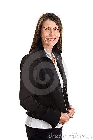 Businesswoman wearing black suit