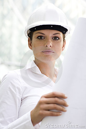 Businesswoman wearing hardhat