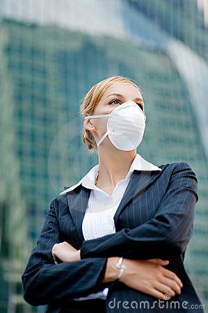 Businesswoman Wearing Mask