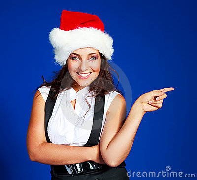Businesswoman wearing a Santa s hat