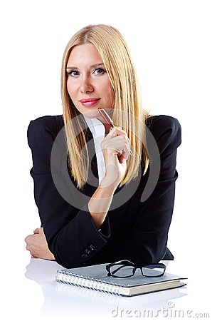 Businesswoman  on  white