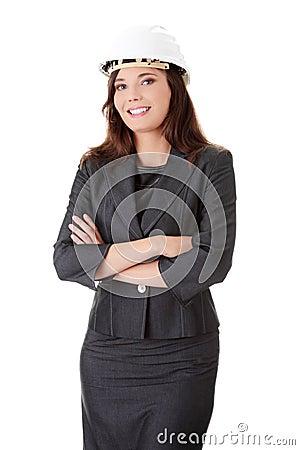 Businesswoman in white helmet