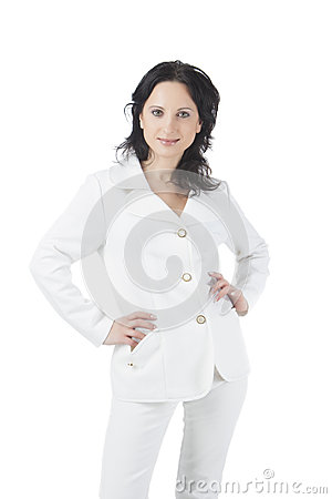 Businesswoman in white suite