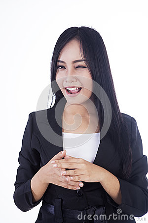 Businesswoman wink eye isolated over white