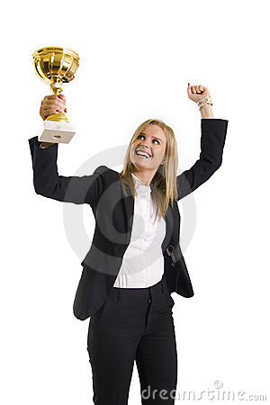 Businesswoman winning a cold cup