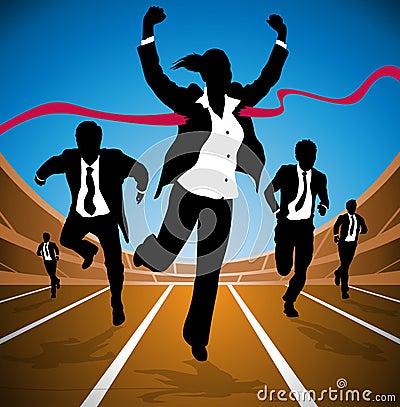 Businesswoman wins the Race