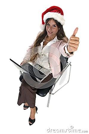 Businesswoman wishing good luck