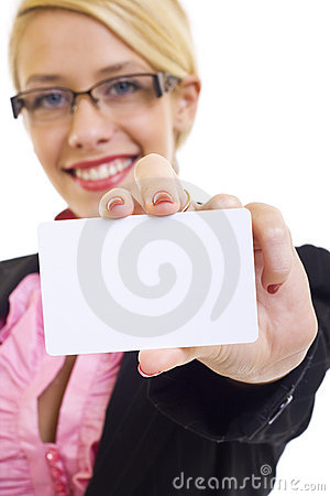 Free Businesswoman With Card Royalty Free Stock Images - 12112899