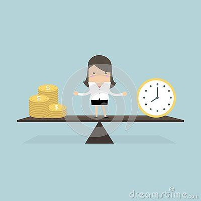 Free Businesswoman With Money And Time Balance Concept. Royalty Free Stock Photography - 130438267