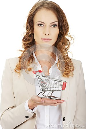 Free Businesswoman With Shopping Cart. Stock Image - 123180421