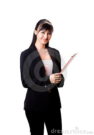 Businesswoman witha red file