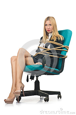 Businesswoman woman tied up