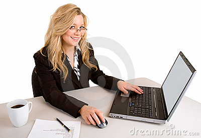 Businesswoman Working at her Laptop