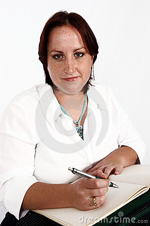 Businesswoman writing