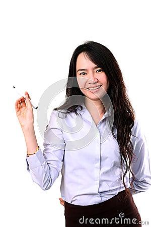 Businesswoman writing by marker pen