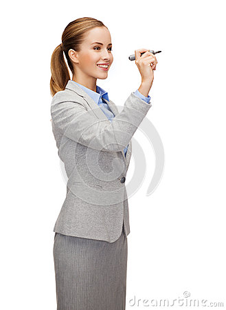 Free Businesswoman Writing Something In Air With Marker Royalty Free Stock Image - 39785286