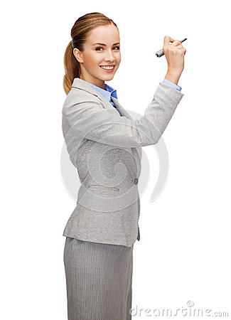 Free Businesswoman Writing Something In Air With Marker Stock Image - 39786081
