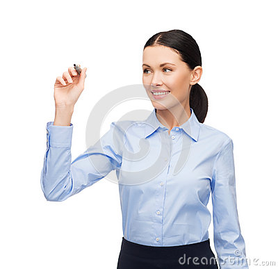 Free Businesswoman Writing Something In The Air Royalty Free Stock Photo - 36536425