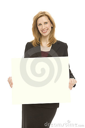 Businesswoman and yellow board